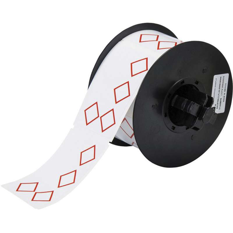"""Vinyl GHS Labels with 4 Pre-Printed Red Diamonds, 2"""" x 3"""", 340/Roll"""