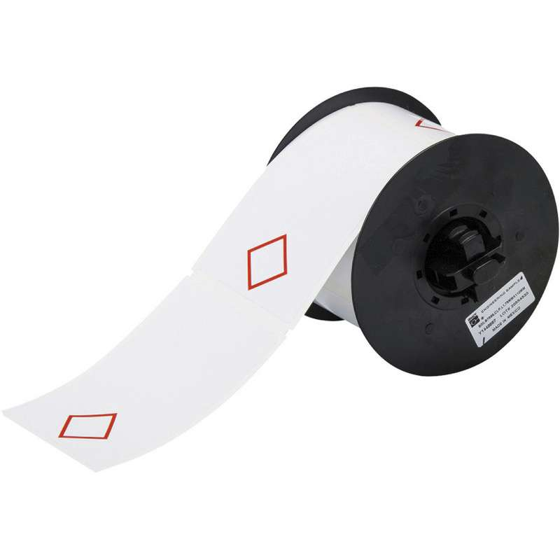 """Vinyl GHS Labels with 1 Pre-Printed Red Diamond, 2.95""""HX4.33""""W, 270/Roll"""