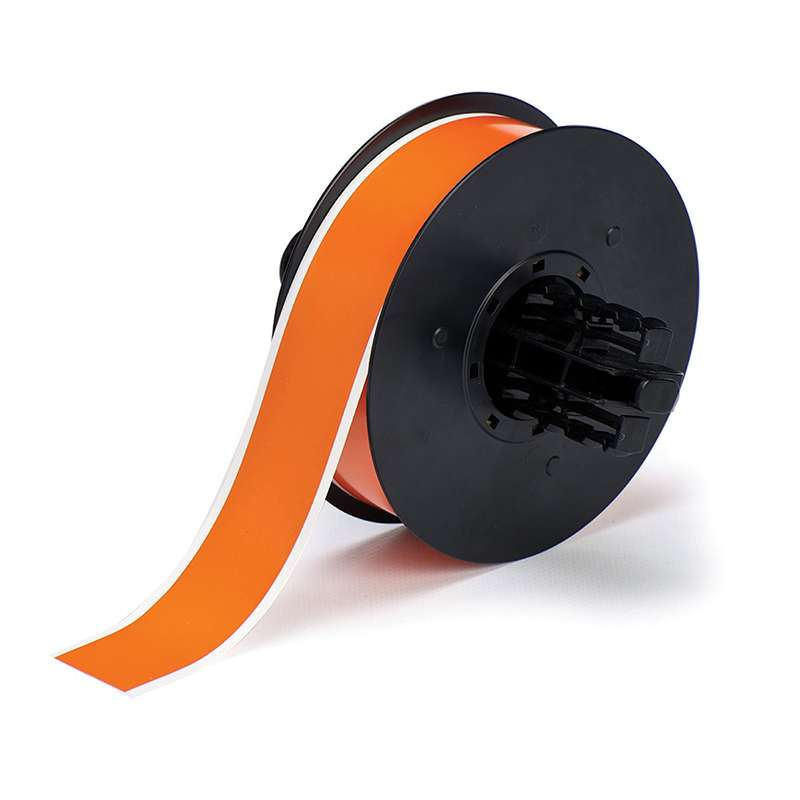 B30 Series Polyester Labels with Low Halide Content, Orange, B-569, 1.125 in x 100 ft per Roll