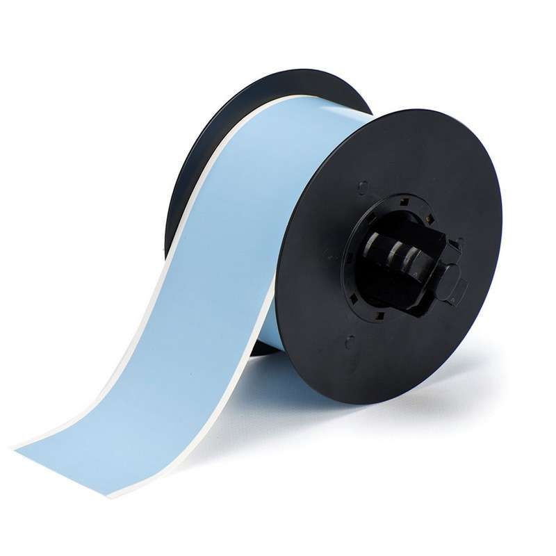 B30 Series Polyester Labels with Low Halide Content, Sky Blue, B-569, 4 in x 100 ft per Roll