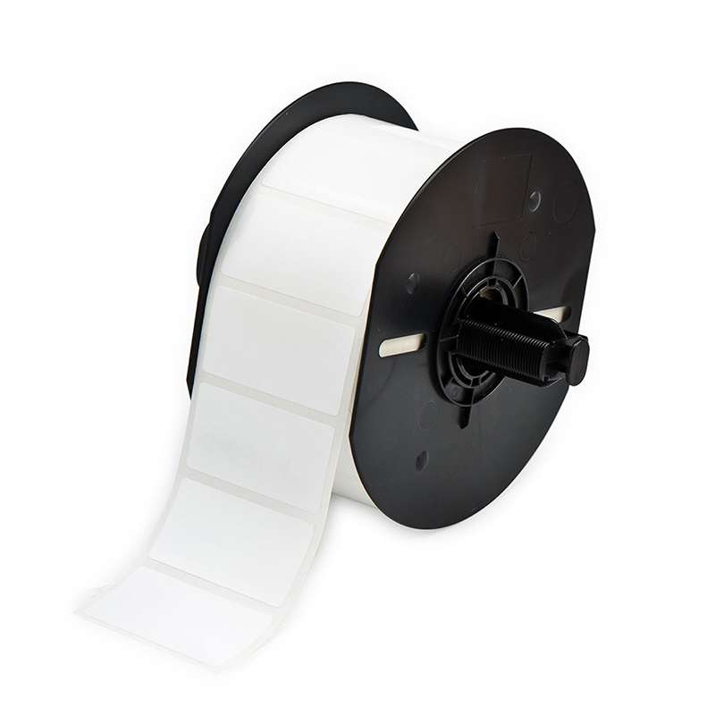 """BBP33 Polyester Labels with Permanent Acrylic Adhesive, Gloss White, 2"""" x 1"""", 1500 per Roll"""