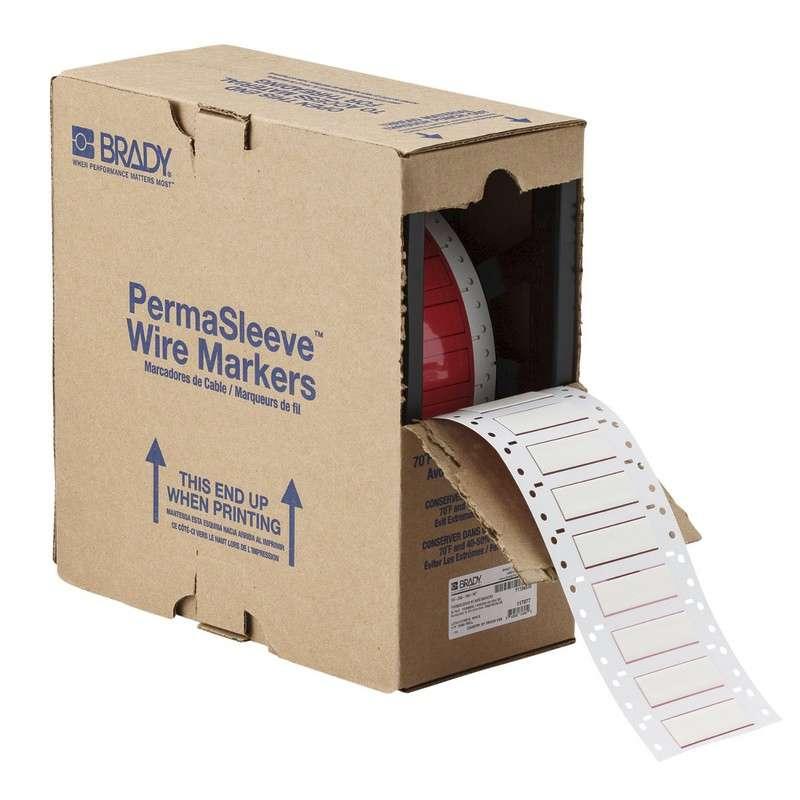 "PermaSleeve™ HX Heat Shrink Polyolefin Wire Marking Sleeves, 1.969"" x 0.445"", White, 1000 per Roll"