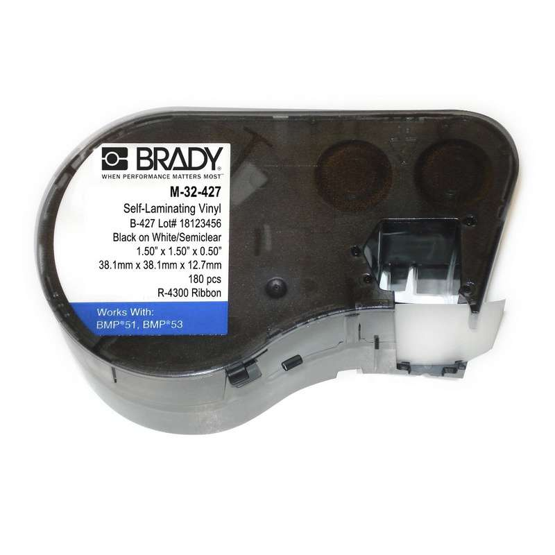 "BMP™51/BMP™53 Label Maker, Self-Laminating Vinyl, 1.5x1.5"", Blk on White/Clear, 180/Cartridge"