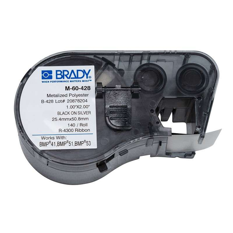 "BMP™51/BMP™53/BMP™41 Label Maker, Metalized Polyester, 2x1"", Blk on Lt Gray, 140/Cartridge"