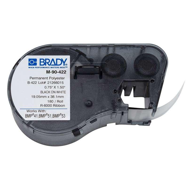 "BMP™51/BMP™53/BMP™41 Label Maker, Permanent Polyester, 1.5x.75"", Blk on Wt, 180/Cartridge"