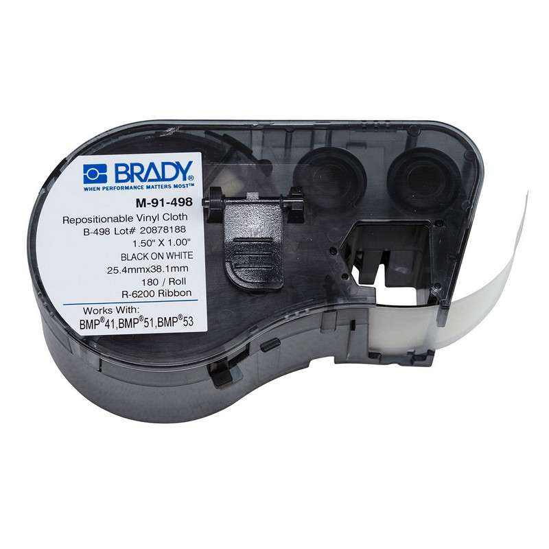 """BMP™51/BMP™53/BMP™41 Label Maker Cartridge, Repositionable Vinyl Cloth, 1x1.5"""", Blk on Wht, 120/Cart"""