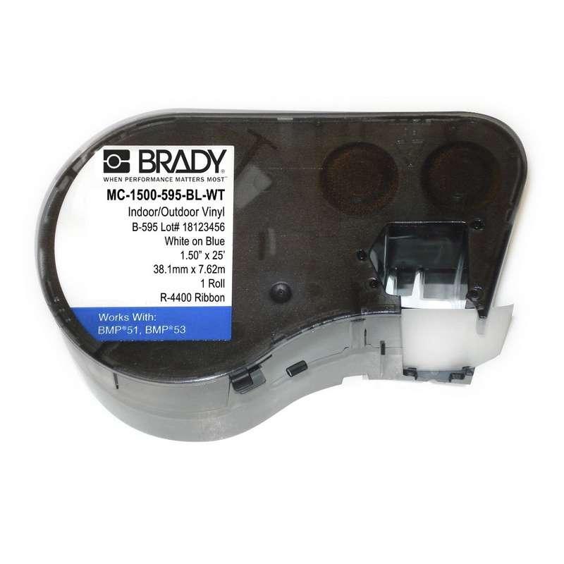 BMP51/BMP53 Label Maker Cartridge, Indoor/Outdoor Vinyl, 1-1/2 x 20', White on Blue