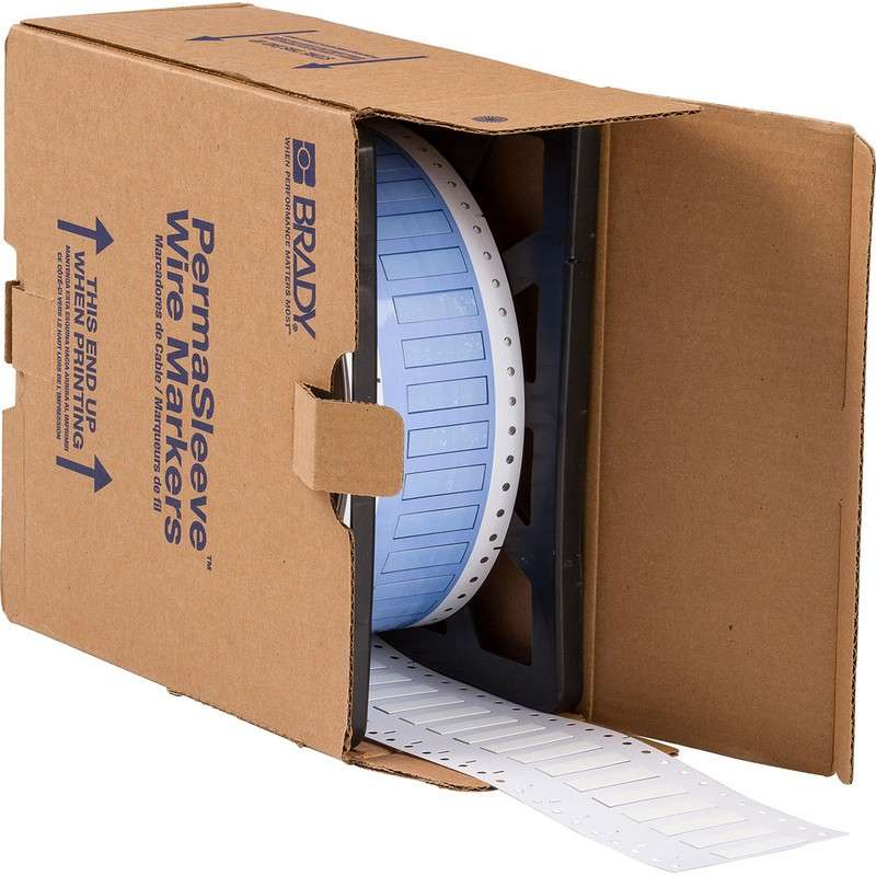 "PermaSleeve™ Heat Shrink Polyolefin White Wire Marking Sleeves, 1.5 x .439"" 2500 per Roll, One-Sided Printable"