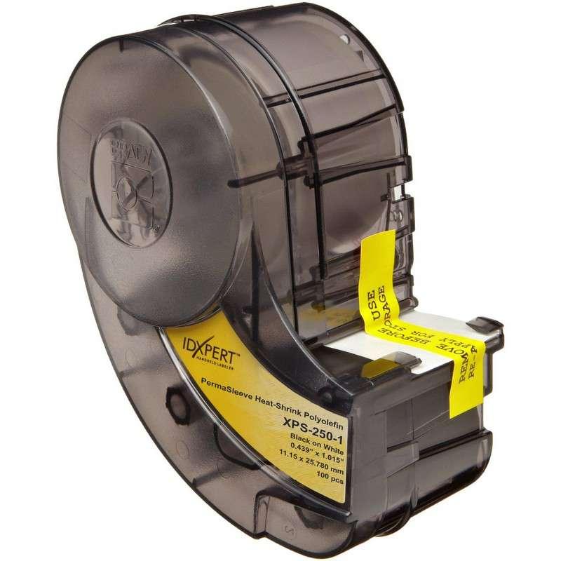 "IDXPERT Permasleeve Heat Shrink Label, 1.015x.439"", Black/White, 100/Cartridge"