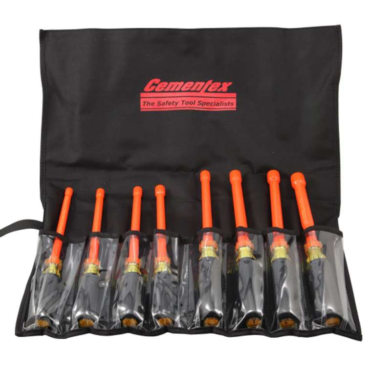 Extra Large Insulated Nutdriver Set 3 16 To 9 6 Long Blades 8 Pieces In A Black Tool Pouch