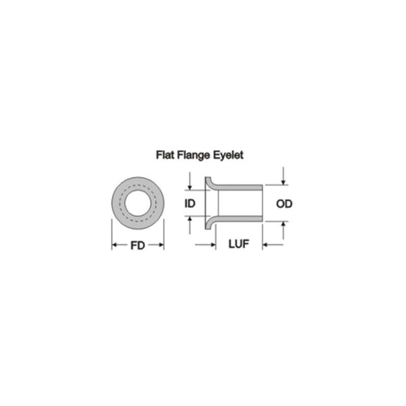 "Eyelets with Flat Flange for PCB Repair, .033"" I.D., .047"" O.D., .125"" L.U.F., .080"" F.D., 25 per Package"