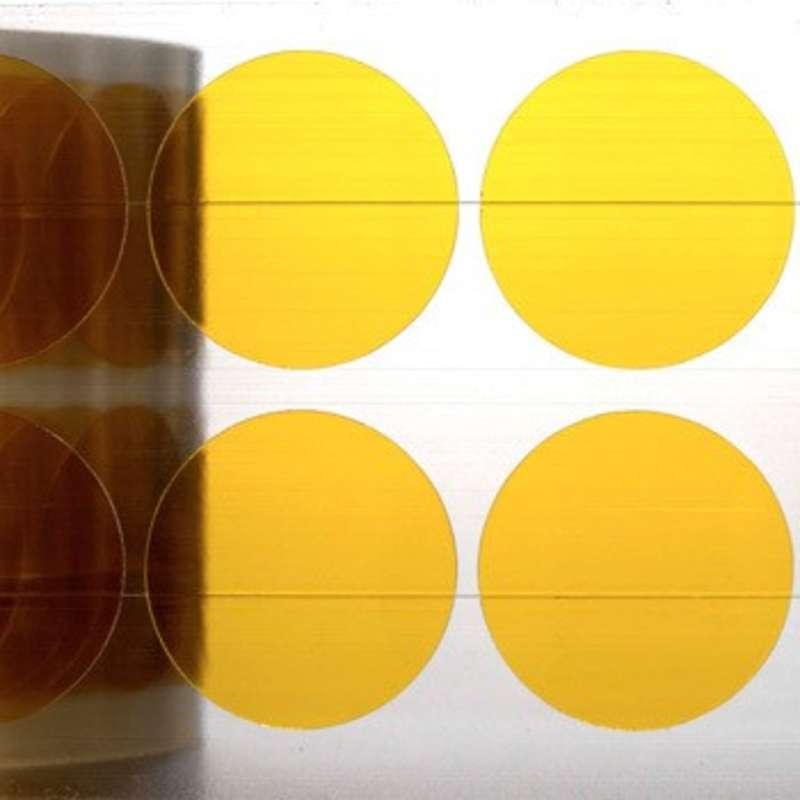 "Low Static Hi-Temp Polyimide Solder Wave Discs, 500F, 3"" Core, 2.5mil Thick, 3/4"" diameter, 2000 per Roll"