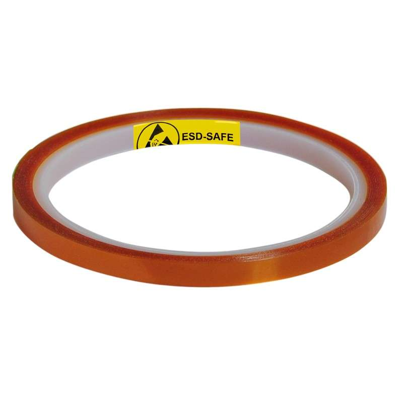 """Low Static 500°F Hi-Temp 4mil Thick Double-Sided Polyimide Wave Solder Tape on 3"""" Plastic Core, 1/4"""" x 11 yards"""