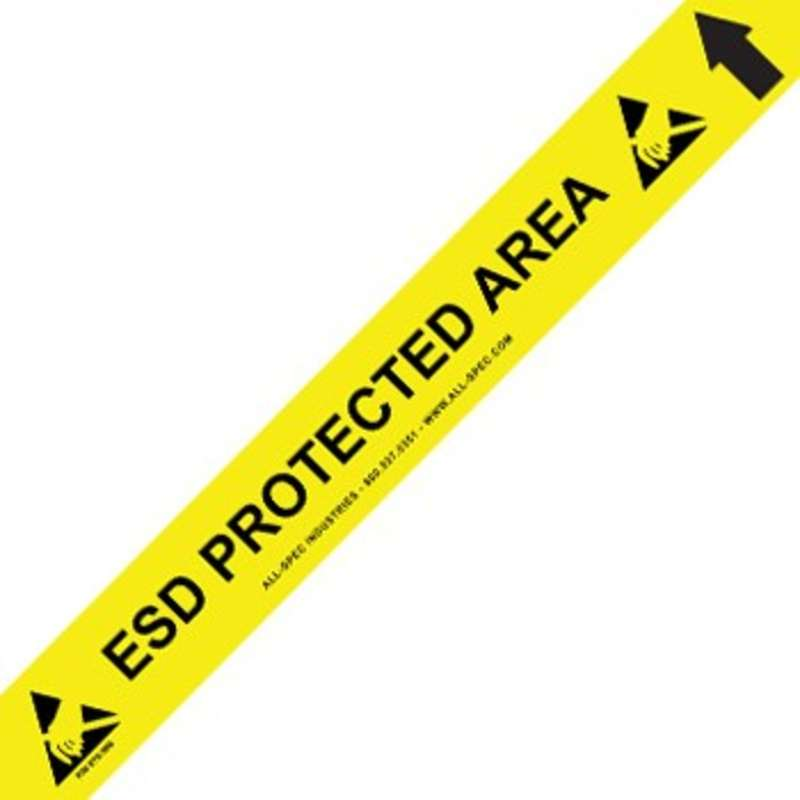 "Heavy Duty Yellow and Black 34 mil Vinyl Aisle Tape with ESD Logos, 3"" x 50'"