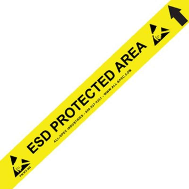 """Heavy Duty Yellow and Black 34 mil Vinyl Aisle Tape with ESD Logos, 2"""" x 50'"""