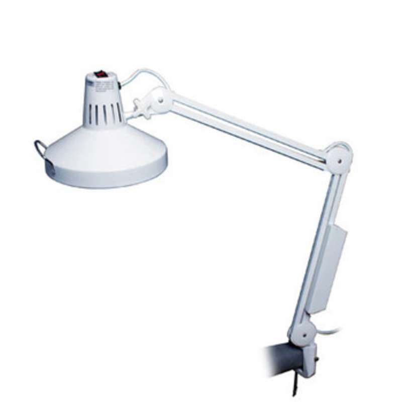 Incandescent and Florescent Combo Task Lamp with Clamp, White