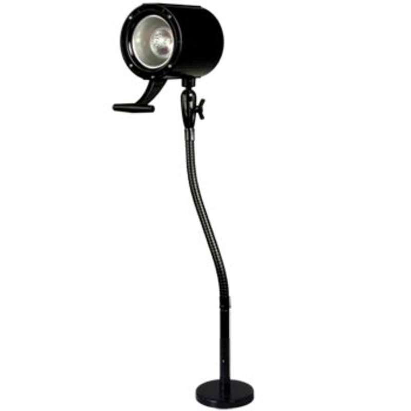 Halogen Lamp, 50-Watt, with Bulb, Gooseneck-arm and Magnetic Base, Black