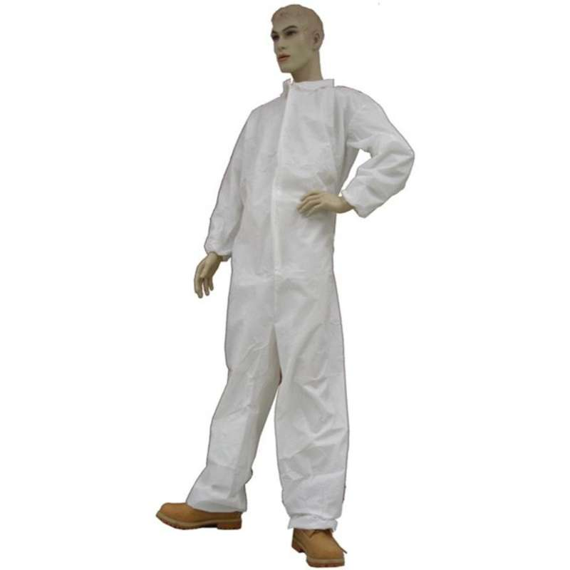 Disposable Polypropylene Coveralls with Collar and Elastic Wrist, White, Large, 25 per Case