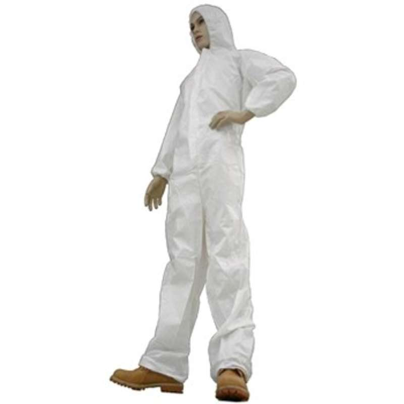 Cleanroom Disposable Coveralls with Attached Hood, White, Medium, 25 per Case