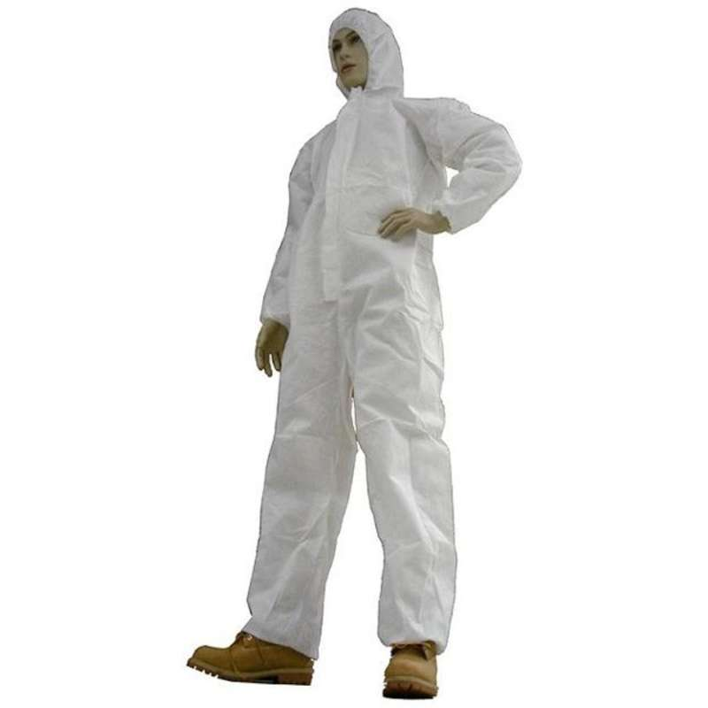 Disposable Polypropylene Coveralls with Hood, Elastic Wrist, Ankles, and Waist, White, Medium, 25 per Case
