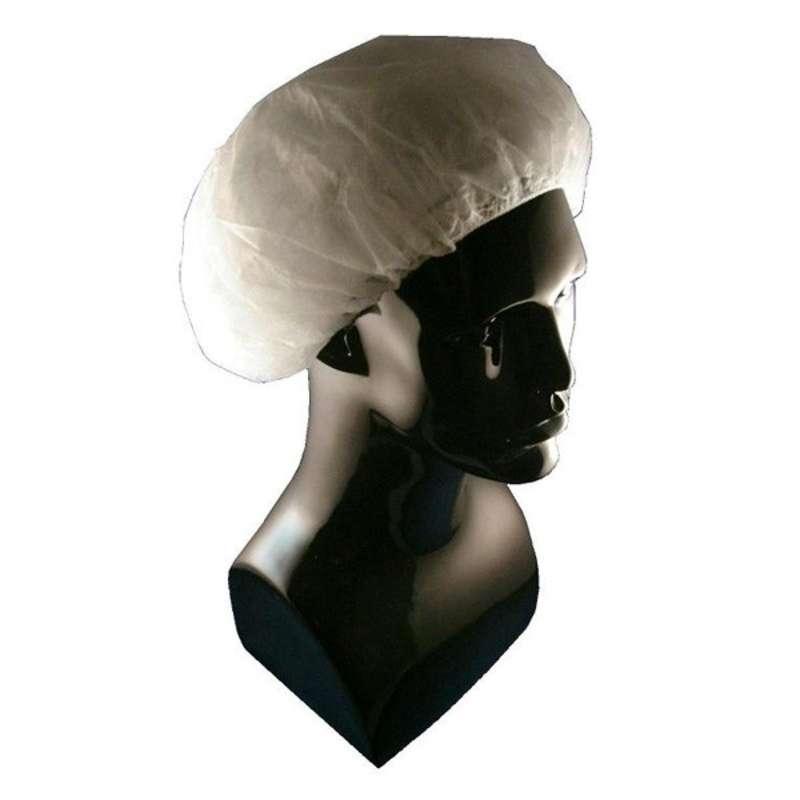 "Cleanroom Disposable Polypropylene Bouffant Cap, White, 28"", 500 per Case"
