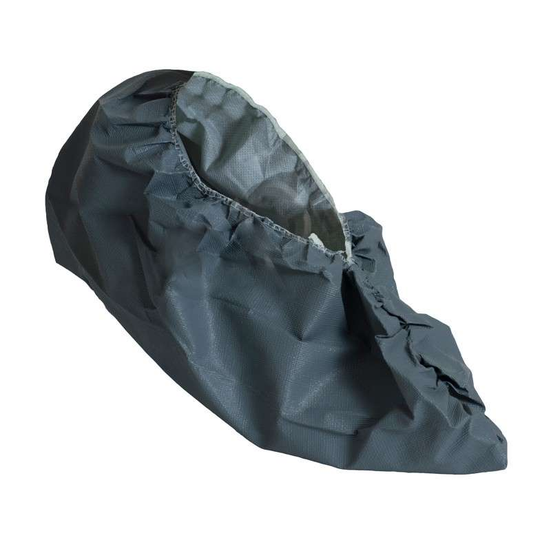 Cleanroom Disposable Polyethylene Blend Grey Non-Marking Shoe Covers with Anti-Skid Bottoms, Extra Large, 200 per Case