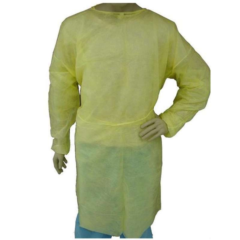 Disposable Polypropylene Full Length Isolation Gown with Elastic Wrists, Yellow, 2X-Large, 50 per Case