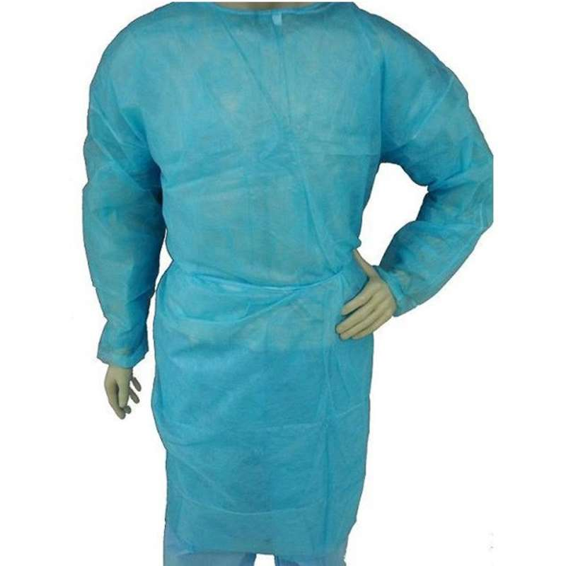 Disposable Polypropylene Full Length Isolation Gown with Elastic Wrists, Blue, 2X-Large, 50 per Case