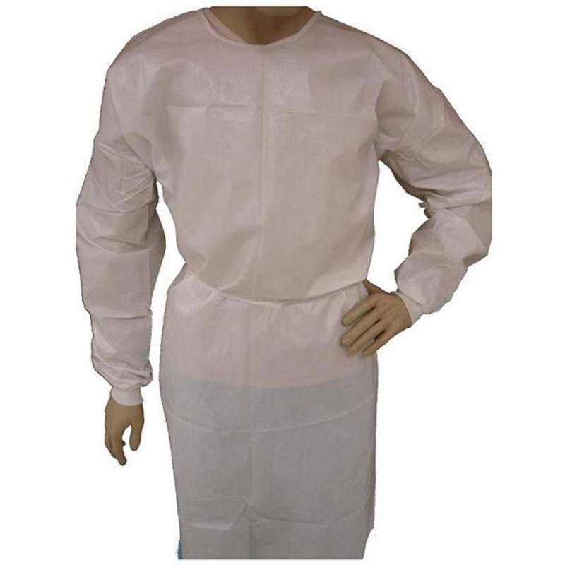 Disposable Polypropylene Full Length Isolation Gown with Knit Wrists and Thumb Straps, White, X-Large, 30 per Case