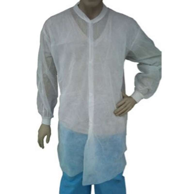 Disposable Polypropylene Lab Coat with Snap Front, Knit Wrists and Collar, White, Large, 50 per Case