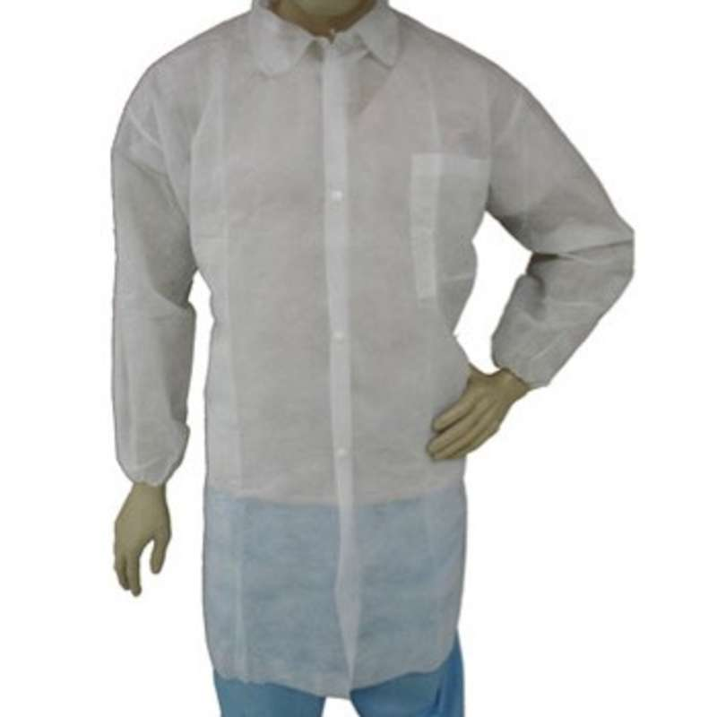 Cleanroom Disposable Polypropylene Lab Coat with Snap Front, Elastic Wrists, and Breast Pocket, White, 3X-Large, 50 per Case