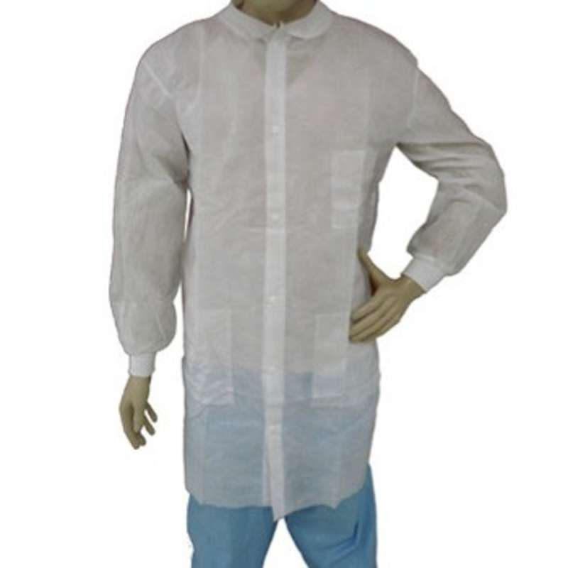Disposable Polypropylene Lab Coat with Snap Front, Knit Wrists and Collar, and 3 Pockets, White, Medium, 50 per Case