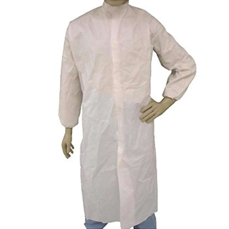 Cleanroom Disposable Polypropylene Lab Coat with Elastic Wrist and Mandarin Collar, White, Medium, 30 per Case