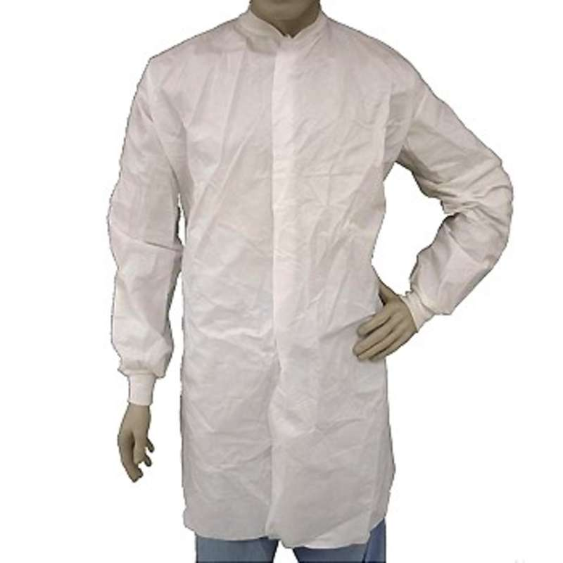Cleanroom Disposable Lab Coat with Knit Wrist and Collar, White, 5X-Large, 30 per Case