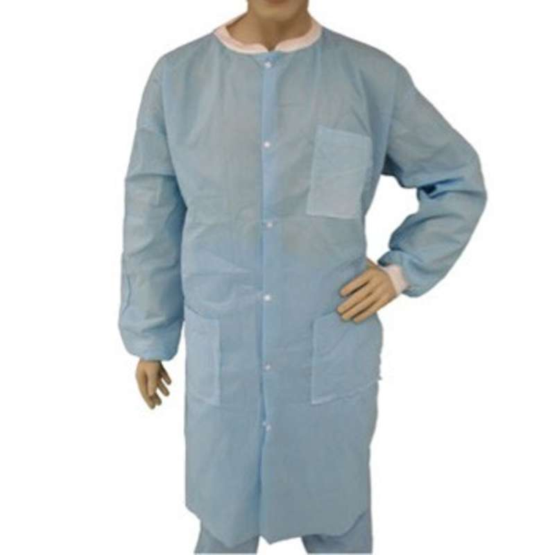 Cleanroom Disposable Polypropylene SMS Lab Coat with Snap Front, Knit Wrists and Collar, and 3 Pockets, Blue, Medium, 30 per Case