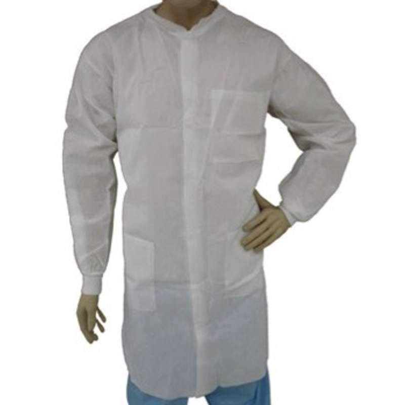 Cleanroom Disposable Polypropylene SMS Lab Coat with Snap Front, Knit Wrists and Collar, and 3 Pockets, White, Medium, 30 per Case