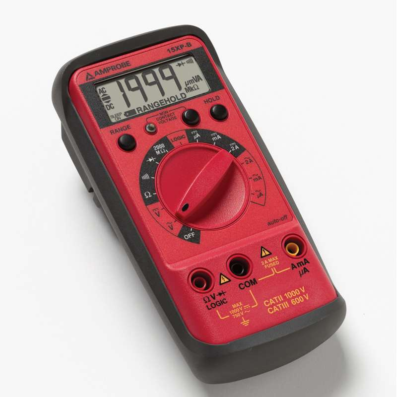 Compact Digital Multimeter with Magnetic Holster, Non-Contact Voltage Detector and Logic Test