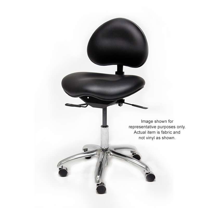"""ESD-Safe Adjustable Medical / Laboratory Fabric Chair with Aluminum Base, Footring, Backrest, and Saddle Seat, 24-1/2 to 34-1/2"""", Charcoal"""