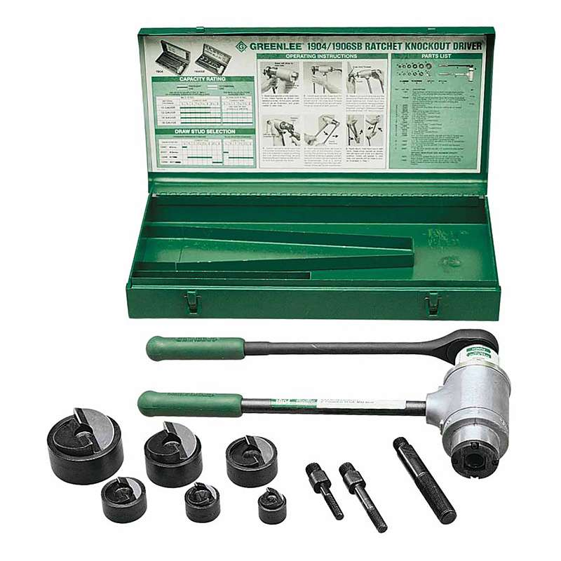 Slug-Buster® Ratchet Conduit Punch Driver Kit, with 3 Draw Studs and Case