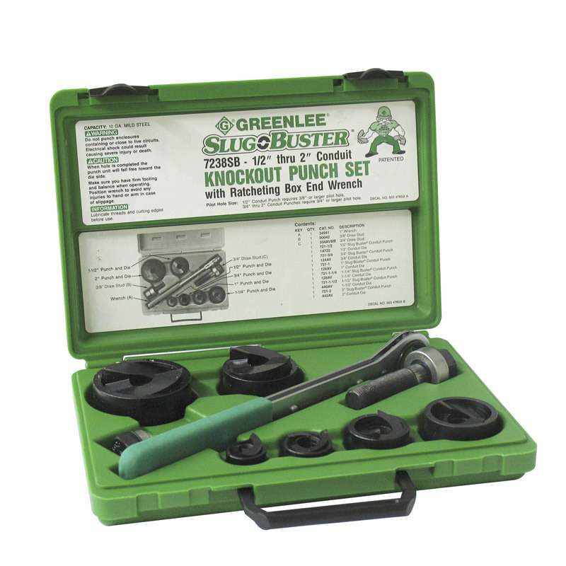 "Slug-Buster® Manual Round Knockout Conduit Punch Kit for 1/2"" to 2"" Conduit"