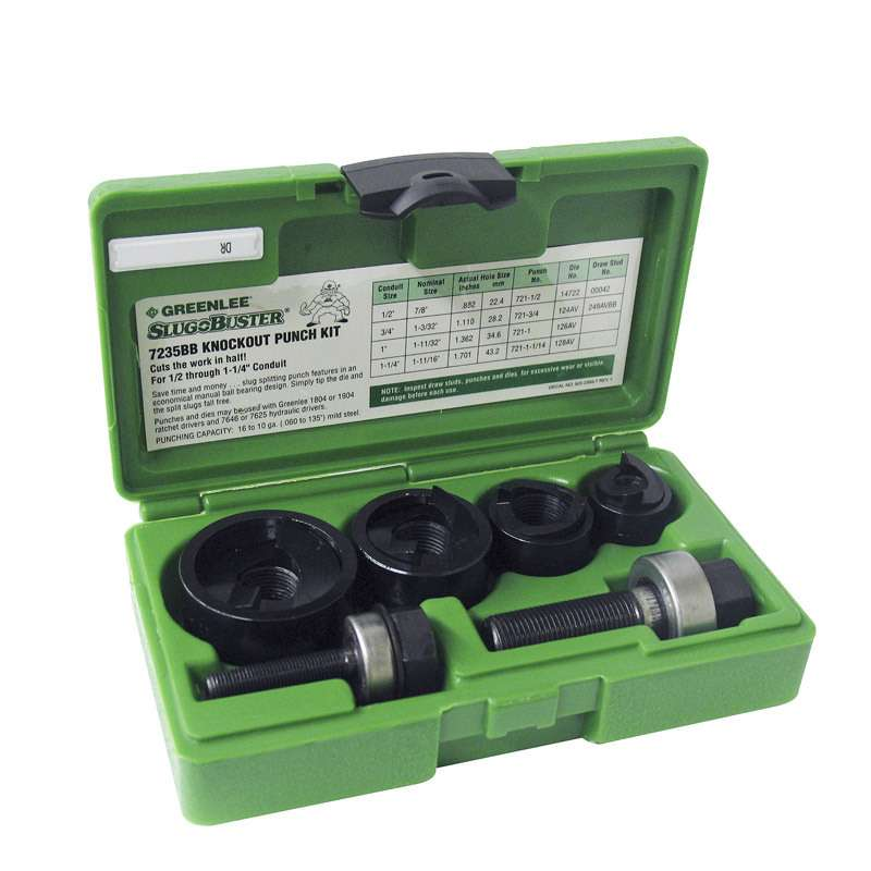Standard Round Manual Knockout Punch Kit for Conduit Size 0.5 - 1.25""