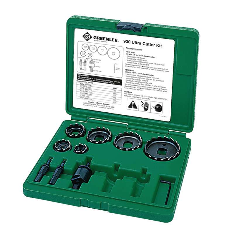 """High-Speed Steel Hole Cutter Kit with Case, for 0.5 - 2"""" Conduits"""