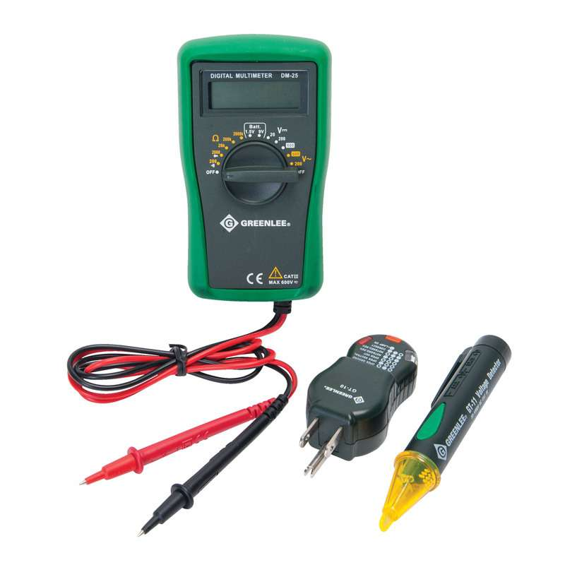 Basic Electrical Kit with Multimeter, Non-Contact Voltage Detecter, and Receptacle Tester.