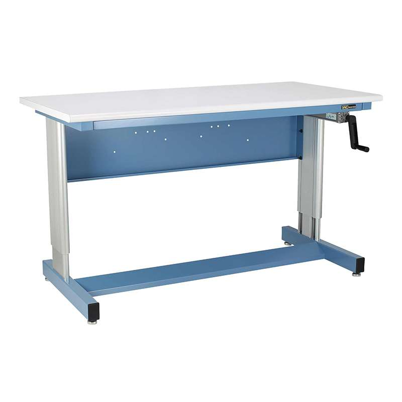 """930 Pro Series Quick Ship Adjustable Height ESD-Safe Cantilever Bench, 30""""D x 60""""W, Sky Blue"""