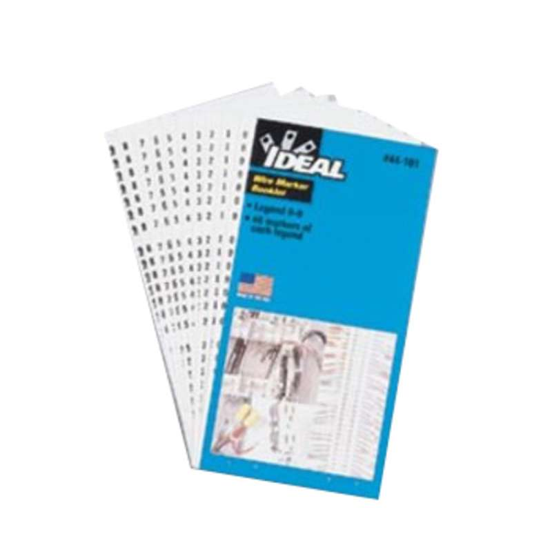 "Wire Marker Booklet, Perforated 1.5"" Numbers 0-15, A-Z,+,-,/, 10 Of Each"
