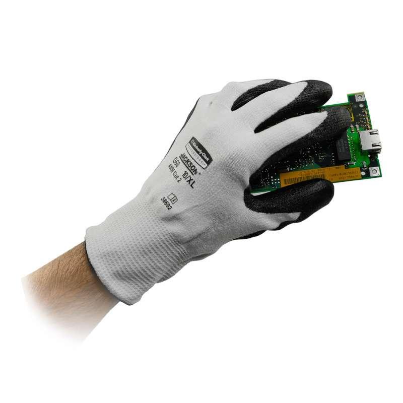 KleenGuard G60 Level 2 Cut Resistant DYNEEMA and Polyurethane Coated Gloves, 12-Pair, Medium (8.0)