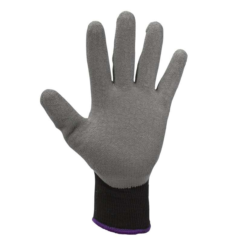 KleenGuard G40 Contact Heat Level 2 Black Polyester Knit and Grey Latex Coated Gloves, 12-Pair, Medium (8.0)