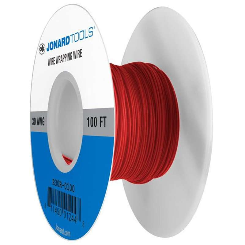 Kynar® Insulated 30AWG Solid Copper Wire, Red, 100' per Roll