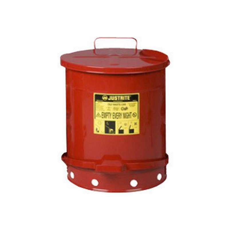 Flame Retardant Hand Operated Waste Can for Oily Hazmat Items, Red, 6 Gallons