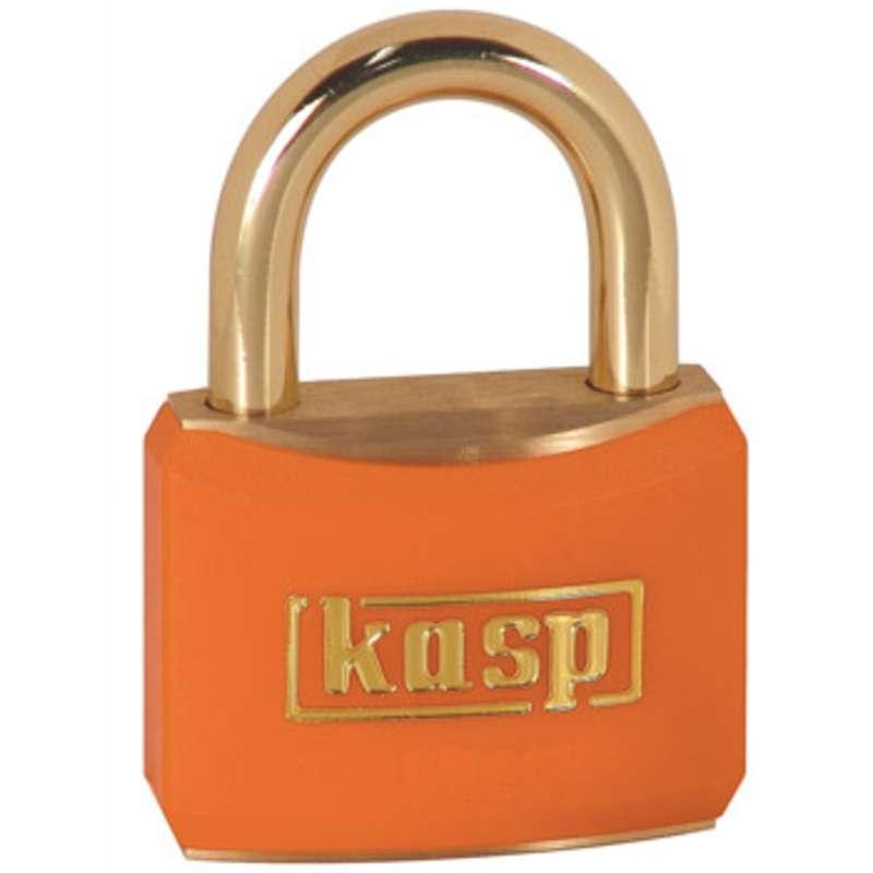 Brass Corrosion Resistant Orange Padlock with Key, 21mm Shackle
